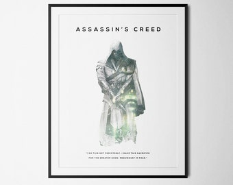 Assassins Creed Inspired Double Exposure Poster Print - Video Game Art