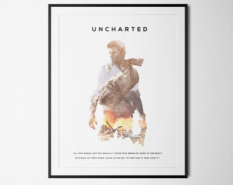 Uncharted Inspired Double Exposure Poster Print - Video Game Art