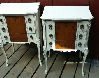 fabulus pair of shabby paris romantic chic curvy leg marquetry antique nightstands night stands nightstand night