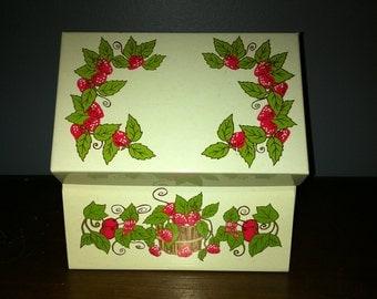 Vintage 1960's Recipe Box Strawberries