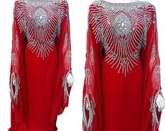 Red wedding bridal kaftan with silver crystals