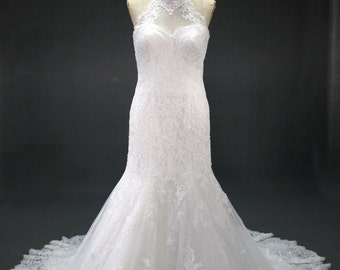 High Mock Turtle Neck Lace Wedding dress with open back