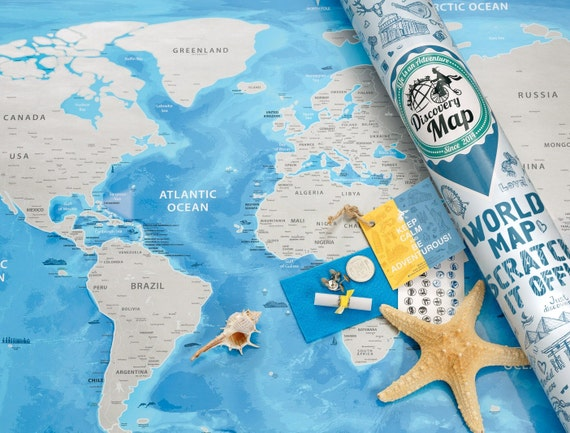 Silver World Map With Scratch Off Silver Scratch Blue Map - Scratch world map us manaufacturuer