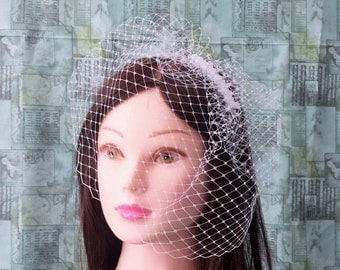White French Netting Birdcage Veil Bridal Hair Accessory Ceremony Wedding