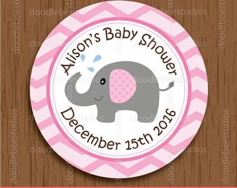 Personalized Pink Elephant Favor Tags, Elephant Baby Shower Tags, Elephant Labels, Elephant Party Printables, Baby Shower Printables