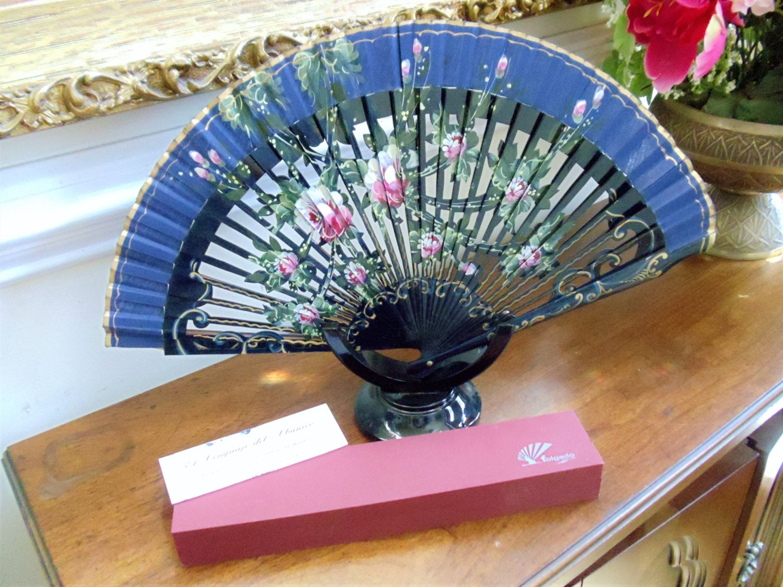 1960s Box Fan : Vintage madrid spain hand fan original spanish folding