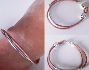 Leather and metal bracelet