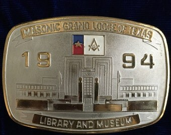 Vintage Masonic Belt Buckle - Masonic Grand Lodge of Texas 1994