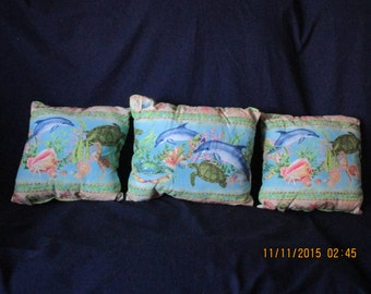 Children's sea Pillows with dolphines, turtles & shells.  set of three
