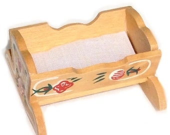 Miniature Hand Painted Swiss Cradle With Mattress