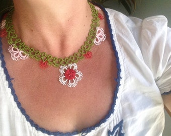 Turkish oya necklace, handknitted with love. Needlework. Valentine's Day Mother's Day Gift Idea