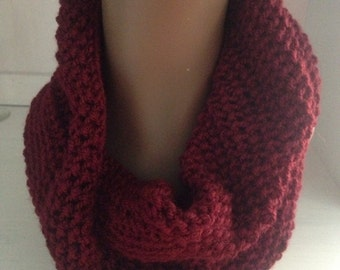 Burgundy Super soft  chunky cowl infinitity scarf mothers day valentines day