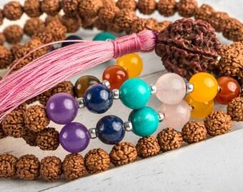 Yoga Necklace, Chakra Mala Necklace, Healing Necklace, Japa Mala, Spiritual Necklace, Buddhist Necklace