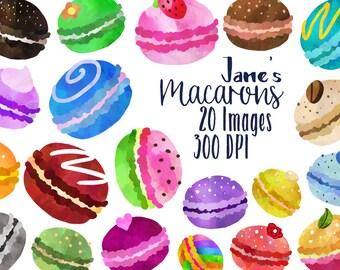 Macaron Clipart - Dessert Cookies Download - Instant Download - Watercolor Cute Pastry Macaroons
