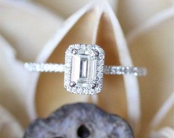 Forever Classic Moissanite Ring,4*6mm Emerald Cut Brilliant Moissanite Engagement Ring,Halo Diamonds,Half Eternity,14K White Gold Ring