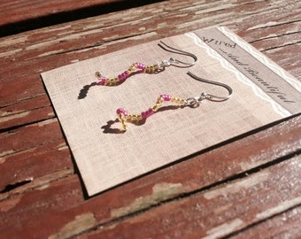 Pink and Yellow Curl Earrings