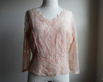vintage 50s handmade marilyn monroe ballet pink lace fitted side zip pullover bombshell pinup blouse