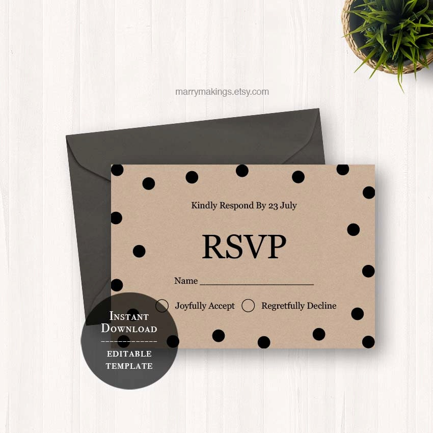 Diy Rsvp Card Wedding Rsvp Cards Diy Template Wedding Rsvp