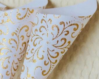 Gold Glitter on White Confetti Cones - 10 wedding confetti cones in a heavyweight white handmade paper with a golden glitter swirl design.