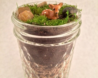 Live Moss Terrarium with Baby Deer Figurine