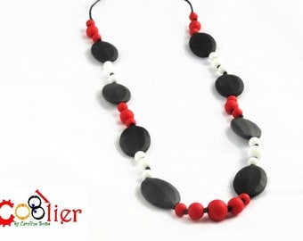 Red, white and black diamond - for mommy, teething and nursing necklace - shipping included in price in Canada