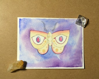 watching moth - original watercolor