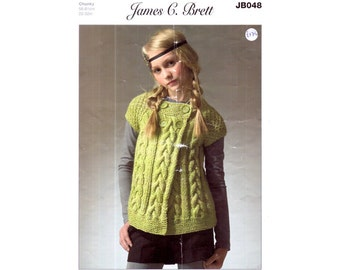 Genuine Vintage 1990s James.C.Brett Girls Gorgeous Aran Tunic Cardigan Cabled with a Twist Knitting Pattern