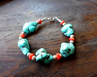 charm bracelet,turquoise deads,coral beads ,special gift for her