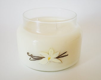 Very Vanilla Candle/ Classic Scents/ 8oz apothacary jar/ Natural Soy Wax/ Refillable/ Zero Waste/ handpainted/ Candle/ Gifts