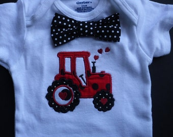 Personalized baby boy onesie , tractor bodysuit, embroidery bodysuit, 0-12 month bodysuit, new baby gift, shower gift 1st birthday
