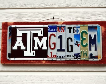 GIG'EM - Texas A&M - custom made Aggie license plate sign