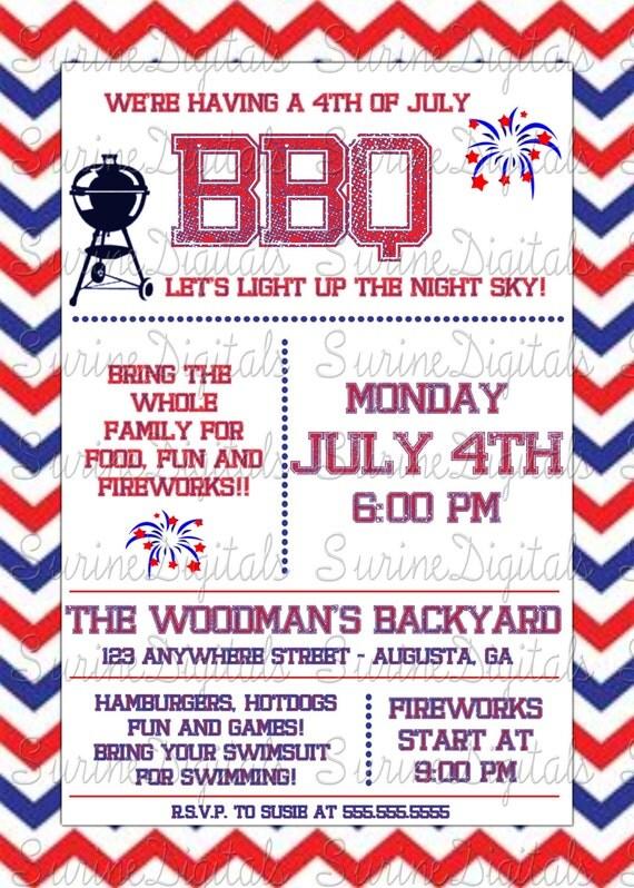 4th of july bbq invitation