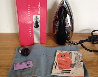 Vintage 1950's General Electric Automatic Travel Iron w/Box