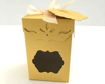 Unique Metallic Gold Favor Boxes, Wedding Favors, Event Favors, Party Favors, Treat Boxes, Dessert Boxes, Gift Boxes