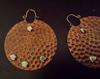 Hammered Copper Earrings with Silver Rivets.