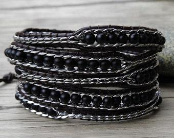 balck wrap Bracelet chain wrap bracelet chain bead bracelet boho leather Bracelet Leather wrap bracelet black agate bead bracelet SL-0295