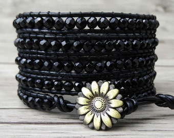 Black wrap bracelet faceted agate bracelet beaded wrap bracelet bead leather bracelet boho bracelet yoga bracelet black jewelry SL-0200