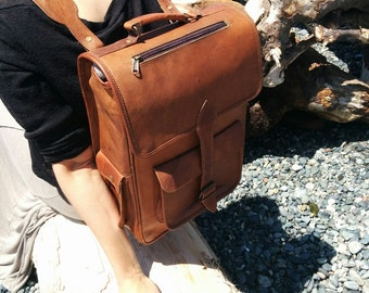 Leather Backpack / Handmade Leather Backpack / Handcrafted Leather Rucksack / Brown Leather Backpack / Backpack Satchel / School Backpack