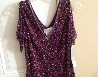 Papell Boutique Evening Embellished Purple Blouse Size (PM) Petite Medium