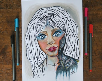 Original Art: Robotic Cyborg Doll Girl Painting