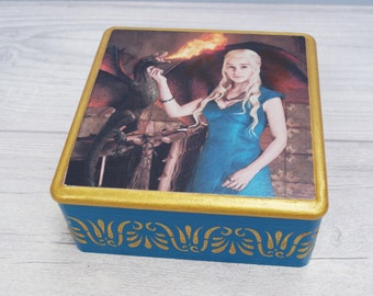 Jewelry box Daenerys original box wood box home decor decoupage box handmade box jewelry storage jewelry holder game of  thrones aquamarine