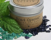 Road Opener Soy Intention Candle 4oz. Travel Tin Eucalyptus Mint Amazonite Blue Goldstone Gemstones Aloha Elixir Made in Hawaii