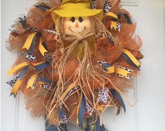 Deco mesh scarecrow wreath for Fall, Thanksgiving or Autumn