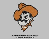 Embroidery Design Oklahoma State filled file OSU Pistol Pete  3 sizes included machine embroidery digital download