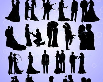 40 couples / couples silhouette / silhouette /couples / bride and groom /  silhouette / SVG / PNG / Eps / Dxf /wedding / High Quality