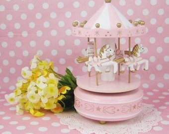 Carousel pink colour , music box for kids