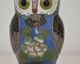 Vintage Oriental / Asian Handpainted Cloissone Owl With Mahogany Stand