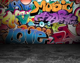 Graffito Backdrop - distressed concrete floor, graffiti wall - Printed Fabric Photography Background G1373