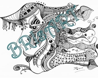 "Zentangles Download coloring ZENZIA ""FACE 6"" made by BRI, Ausmalbild, Malvorlage, Adult coloring, Vorlage zentangle, zendoodles, doodles,"