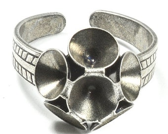 5 Pack 29ss Flower ring base with decorated base for handmade jewelry making